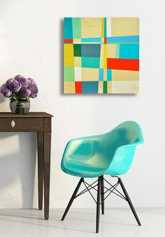 "original painting, painting on wood, red, blue, green, wood grain, wall art, mid century modern, modern painting, art - ""Making Connections"" on Etsy, $120.00"