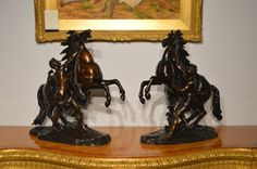 A Large Pair of Bronze Marley Horses After Coustou