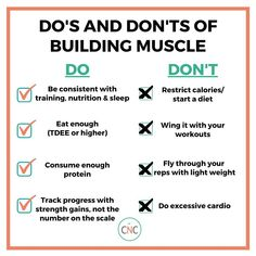 If you want to build muscle and *actually* look like you workout, there are some pretty important do's and don'ts you've got to follow. ✅Do: Be consistent with training, nutrition, and sleep Eat enough (at your TDEE or higher) Consume enough protein Track progress with strength gains, not the number on the scale  ❌Don't: Restrict calories/start a diet Wing it with your workouts Fly through your reps with light weight Do. Macro Nutrition, Health And Nutrition, Health Tips, Healthy Weight Loss, Weight Loss Tips, Carrots N Cake, Start A Diet, Fitness Facts, Crossfit Motivation