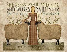 Primitive folk Art Wool and Flax Art 8.5x11 by MarysMontage