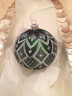 Hand painted roses & lace Christmas Ornament forest green