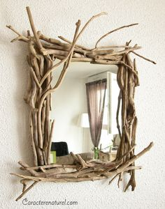 Diy ideas with twigs or tree branches beautiful mirrors - Faire un cadre en bois flotte ...