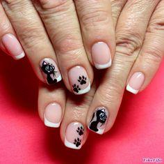#маникюр, #маникюрлето2016, #дизайн_ногтей, #маникюр_кошки Fall Gel Nails, French Manicure Nails, Cat Nails, French Nails, Spring Nails, Sassy Nails, Disney Nails, Nail Tutorials, Nails On Fleek