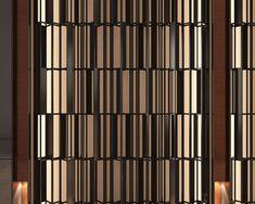 Types Of Wood Flooring, Stainless Steel Screen, Metal Grill, Divider Screen, Gate Design, Textured Walls, Facade, Modern Design, Design Inspiration