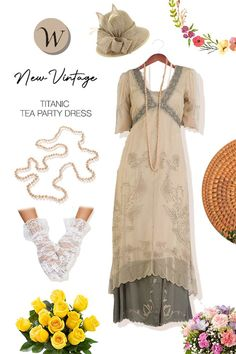"""This is the newest """"Titanic Dress."""" Victorian style empire dress with ½ sheer sleeves and ties in the back. With plentiful 1920s and 1930 soutache embroidery, victorian lace throughout with layers upon layers over a cotton slip and a satin bottom. It is the quintessintial bride to be dress and could also serve as an easy pull on for a nice sunny day of shopping or even a tea party..."""