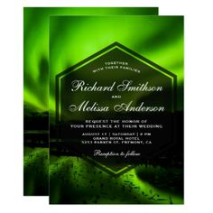 Green Aurora Northern Lights Wedding Invitation - modern gifts cyo gift ideas personalize