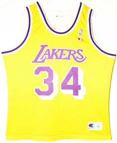 268e0005d0f Champion NBA Basketball Los Angeles Lakers #34 Shaquille O'Neal Trikot/ Jersey Size