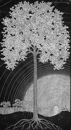 Blooming Tree (Bluhender Baum) - GERTRAUD B. REINBERGER, woodcut