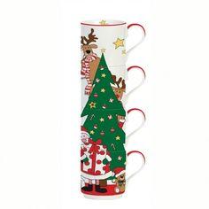 Εορταστική πρόταση για σας που τα Χριστούγεννα έχουν χρώμα. Τέσσερεις κούπες δέντρο με τον Άγιο Βασίλη και τους φίλους του. Χωρητικότητα: 275ml. Mugs, Tableware, Dinnerware, Tumblers, Dishes, Mug, Cups