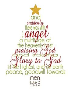 Bible verses in the shape of a Christmas tree.