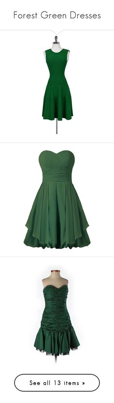 """""""Forest Green Dresses"""" by tegan-b-riley on Polyvore featuring dresses, green, fitted flare dress, circle skirts, skater skirt, sleeveless fitted dress, flared skater skirt, bridesmaid cocktail dresses, bridesmaid dresses and short green cocktail dress"""