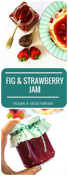 This luscious Fig & Strawberry Jam is quick to make, and tastes fresh and fruity - full of the tastes of a British summer. Vegan & vegetarian.