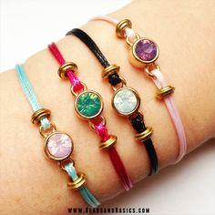 swarovski armbandjes van waxkoord maken / DIY Tutorial / Beads / Zelf sieraden maken / Armbandjes / Ketting / Kralen / roze en turkoois armbandjes / Tibetaanse kralen goud / kralen webshop   www.BeadsandBasics.com
