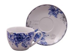 Blue Rose Teacups and Saucers Case of 24 with 24 Tea Cups & 24 Saucers Cheap price; elegant appearance! - Discount Tea Cups - Roses And Teacups