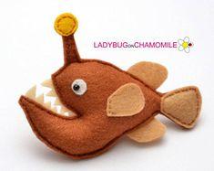 Felt ANGLERFISH, stuffed felt Anglerfish magnet or ornament, cute fish,Anglerfish toy, Sea creatures, home decor, toy,fish magnet