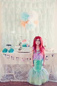 the MomTog diaries: Enchantment Under the Sea: Halle's Birthday Party, Mermaid Style Happy 7th Birthday, Birthday Celebration, Birthday Parties, Birthday Ideas, Mermaid Under The Sea, Under The Sea Party, Mermaid Parties, Daughter Birthday, Mermaid Birthday