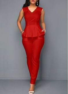 V Neck Sleeveless Peplum Waist Pocket Jumpsuit on sale only US 33 49 now buy ch V Neck Sleeveless African Fashion Dresses, Fashion Outfits, Jumpsuits For Women, Peplum Dress, Buy Cheap, Clothes For Women, Romper Clothing, Evening Cocktail, Royal Blue