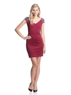 Elegant, form-fitting, and very sexy in the back! Alexia Admor V-Neck Dress with Beaded Shoulders $114 at MYHABIT