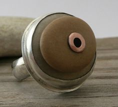 Sterling Silver Ring with Cold Connected Adriatic Beach Stones. by LjBjewelry, via Etsy.
