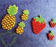#owoce #brickstitch #handmade #ananas #truskawki #toho #treasures #fruits #pineapple #stawberry