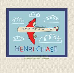 Custom Airplane Nursery Baby Name And Info Print 8x10. $25.00, via Etsy.