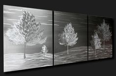 Nature Wall Decor 'Enriched Seasons' - 48x20 in. - Metal Wall Art for Contemporary Home or Office - Delicate Grind Pattern - Tree Artwork