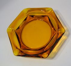 Vintage Amber Glass Ashtray Organizer Bowl by PanchosPorch on Etsy, $14.75