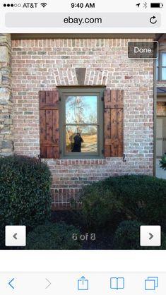 Exterior window trim on brick craftsman style 56 ideas Outside Shutters, Outdoor Shutters, Cedar Shutters, Rustic Shutters, House Shutters, Window Shutters, Exterior House Colors, Exterior Doors, Exterior Paint