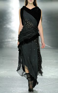 Asymmetric Glitter Velvet Gown With Swarovski Crystals by Rodarte for Preorder on Moda Operandi
