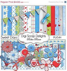 igital Scrapbooking Kits: Sweet Days Scrapbook Kit in Red, Blue, Green, & Gray - Buy 2 Kits Get 1 Free Special