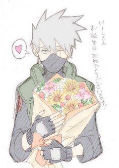 Kakashi with flowers
