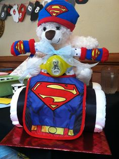 Diaper Bike #superman - Cakes by Cheryl babycreations@cox.net • Perfect baby shower gift/decoration