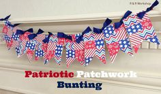 Patriotic Patchwork Bunting. Made with scrapbook paper! by R & R Workshop.