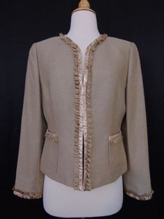 Alex Marie Blazer Jacket Beige Embellished Long Sleeve Lined #1035 #AlexMarie #Blazer