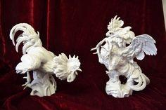 Gallos porcelana Algora  Roosters porcelain Algora