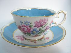 Antique  Crown Staffordshire Tea Cup And Saucer,  Blue and White tea cup, Floral teacup and saucer.. by AntiqueAndCrafts on Etsy
