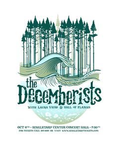 the decemberists with laura veirs and hall of flames - gig poster