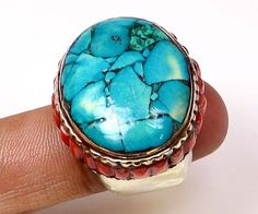 Tibetan Handcrafted Vintage 25 Gm. Turquoise Ring Jewellery Size 8 (G 119772) #FASHION