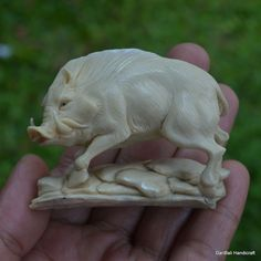 Wild Boar Carved 52mm Height PF341 in Moose Antler Hand Carving, Table Decor