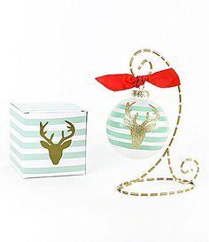 Coton Colors Glitter Deer Striped Glass Ornament