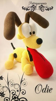 Today I bring you a pattern of Odie, Garfield& great adventure companion, he is intermediate / advanced level, very well explained step by step . Crochet Teddy, Crochet Cross, Crochet Patterns Amigurumi, Amigurumi Doll, Crochet Dolls, Crochet Baby, Free Crochet, Braided Rag Rugs, Crochet Disney