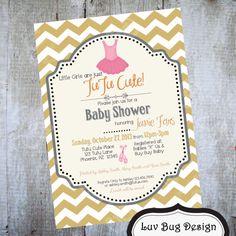 TUTU Baby Shower or Birthday Party Printable by luvbugdesign, $14.00