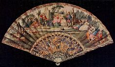 Vintage Fan: 18th Century French c1750 - Pastorelle in the style of Watteau with skin mount, stick mother of pearl, finely pierced, carved a...