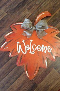 Items similar to Fall Leaf, Leaf Wreath, Fall Wreath, Leaf Door Hanger on Etsy Burlap Door Hangers, Fall Door Hangers, Autumn Crafts, Holiday Crafts, Fall Projects, Burlap Projects, Wooden Projects, Fall Wreaths, Door Wreaths