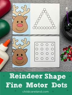 Reindeer shape fine motor dots for shape recognition and fine motor development. Early Learning Activities, Sorting Activities, Motor Activities, Classroom Activities, Fun Learning, Calendar Numbers, Fine Motor Skills Development, Color Shapes, Holiday Tree