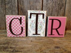 CTR blocks girls decor IN PINK by stickwithmevinyl on Etsy- same idea, cute DIY for kids or office
