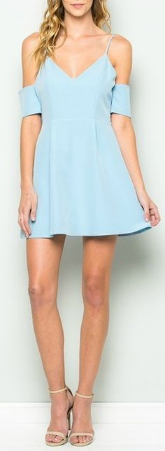 "Show off some shoulder in this sleek blue deep v-neck dress. Flattering waist compliments most every figure. This Amelia Dress in Blue is made from 100% polyester. Hand wash cold to keep this dress looking gorgeous wash after wash. The length of a size small is 32"". The length of a size medium is 33"" and the length of a size large is 34"". The model is wearing a size small. #dress"