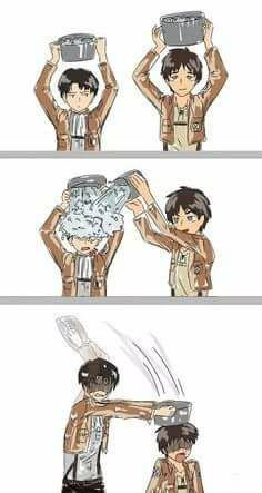 Attack on Titan - Levi and Eren doing the ice bucket challenge. This is why I shouldn't read homestuck AND watch SnK Anime Meme, Me Anime, Anime Kawaii, Ereri, Levihan, Armin, Eren E Levi, Attack On Titan Meme, Attack On Titan Ships