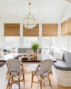 The perfect breakfast nook built-in with bench seating, roman shades, modern gold pendant, French bistro chairs. Apartment Room, Home, House Design, Dining Nook, Dining Room Small, Interior Design, Kitchen Booths, House Interior, Bistro Chairs