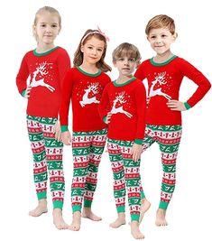 2a675b4ceb Amazon.com  Matching Family Christmas Pajamas Boys Girls Elk Jammies  Children PJs Gift Set  Clothing